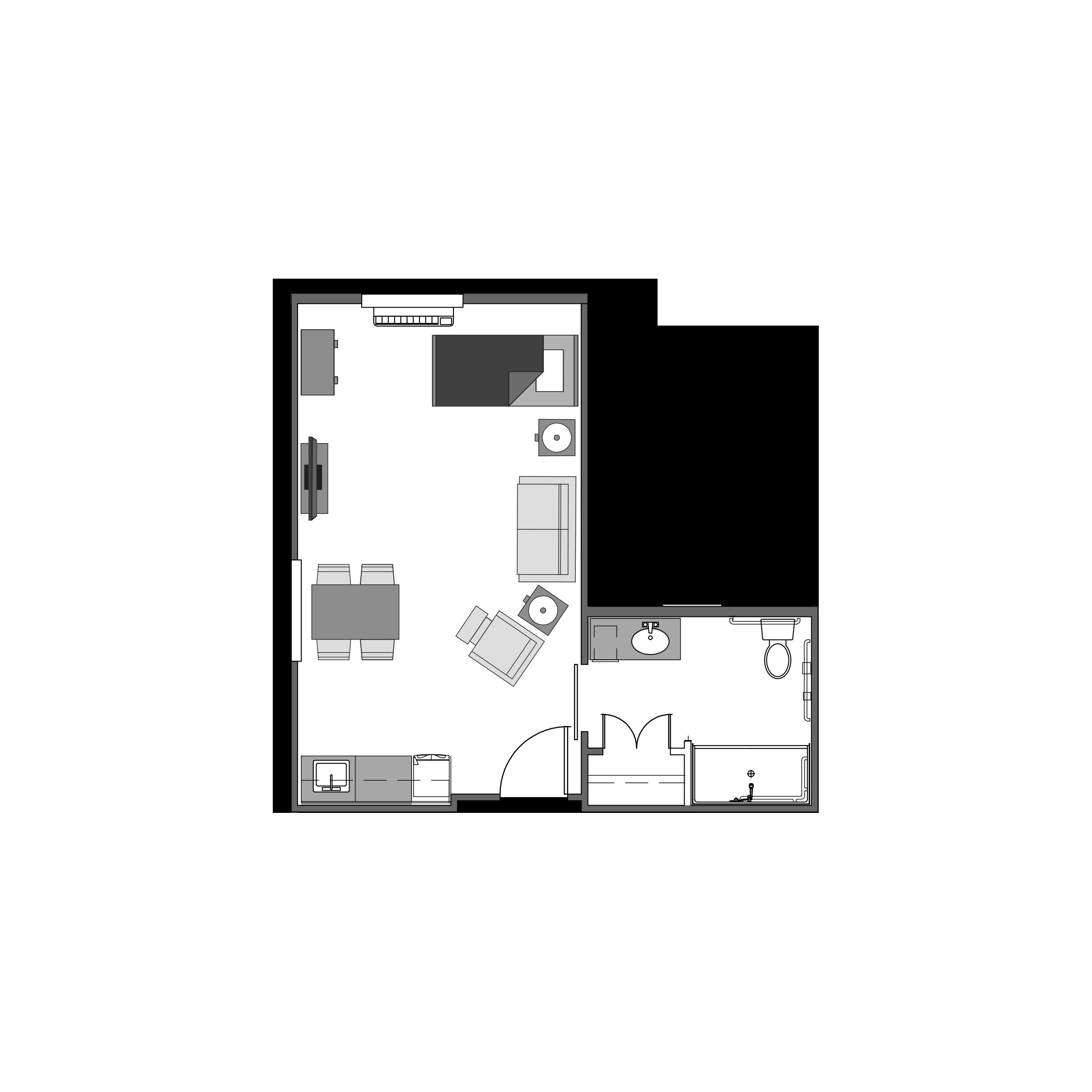 Studio floor plan, 388 square feet