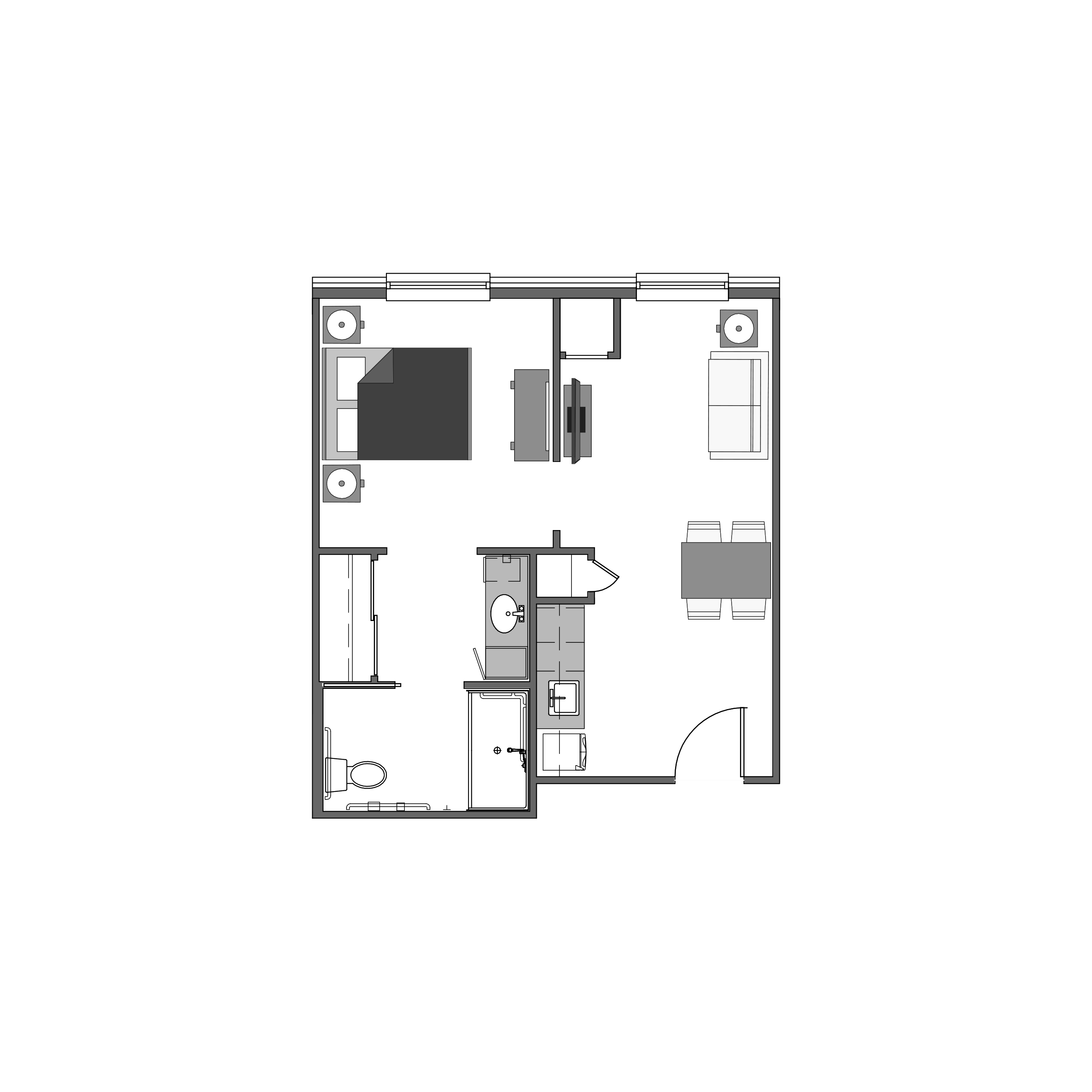 One bedroom floor plan, 441 square feet
