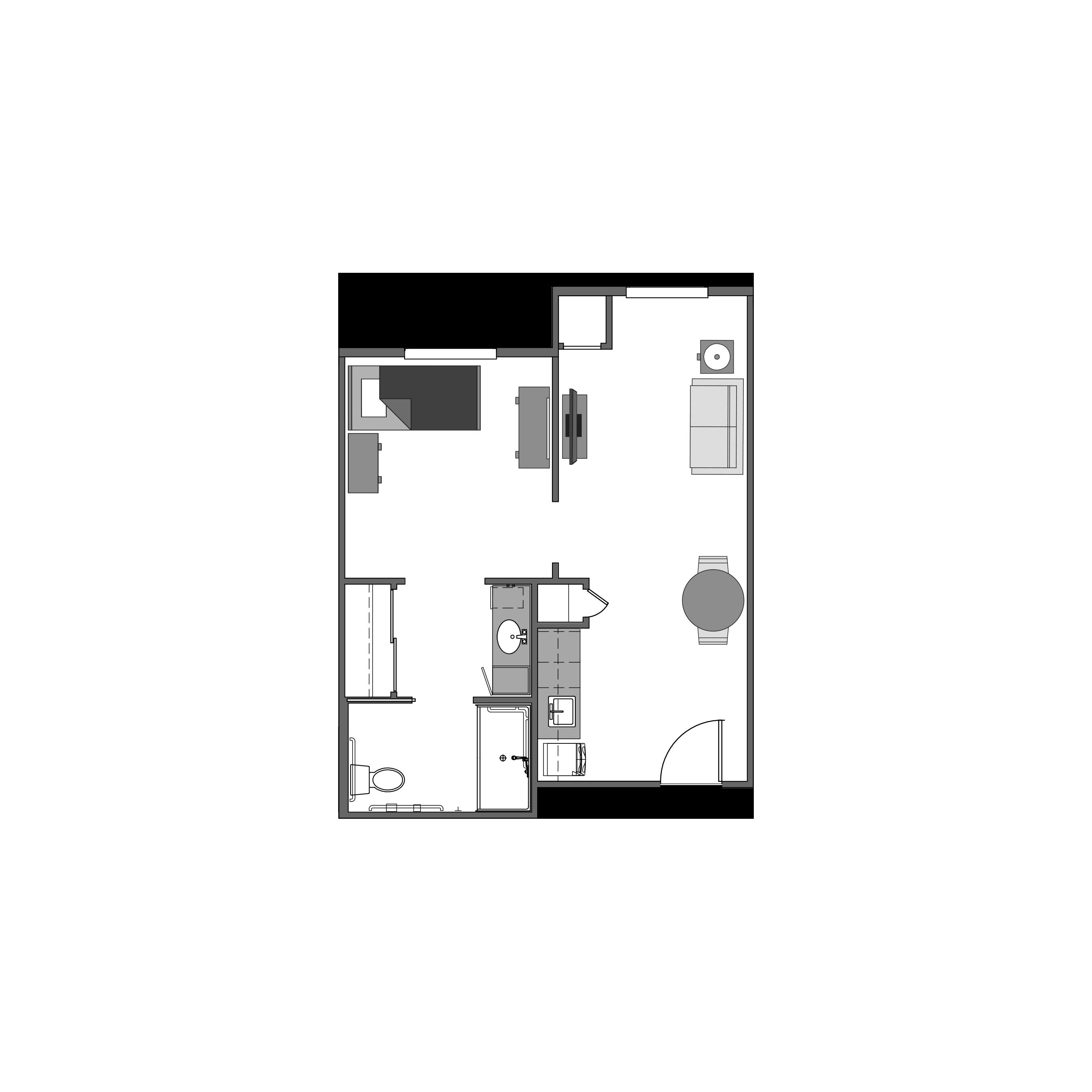 One bedroom floor plan, 470 square feet