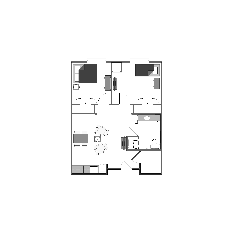 Two bedroom floor plan, 750 square feet