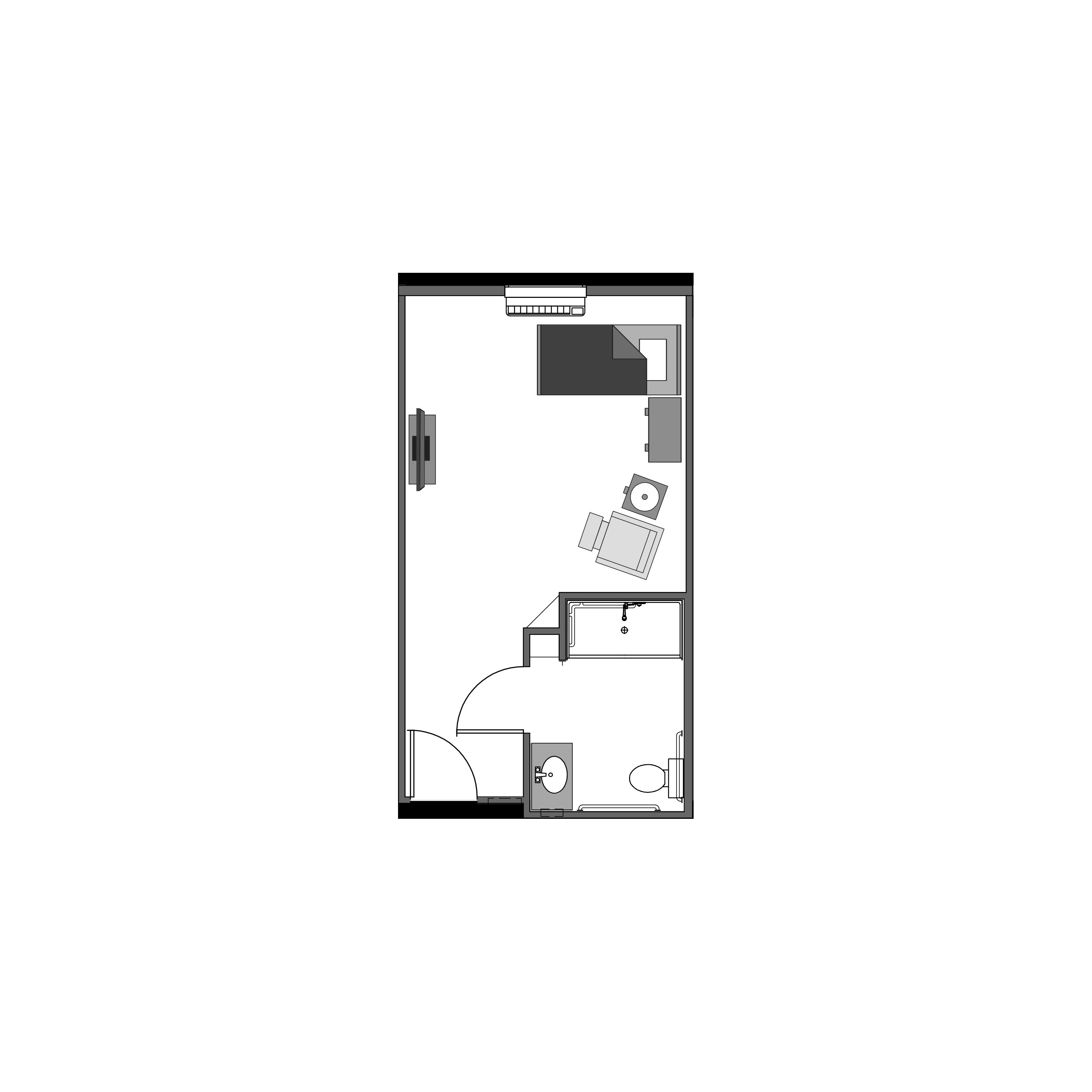 Studio floor plan, 307 square feet
