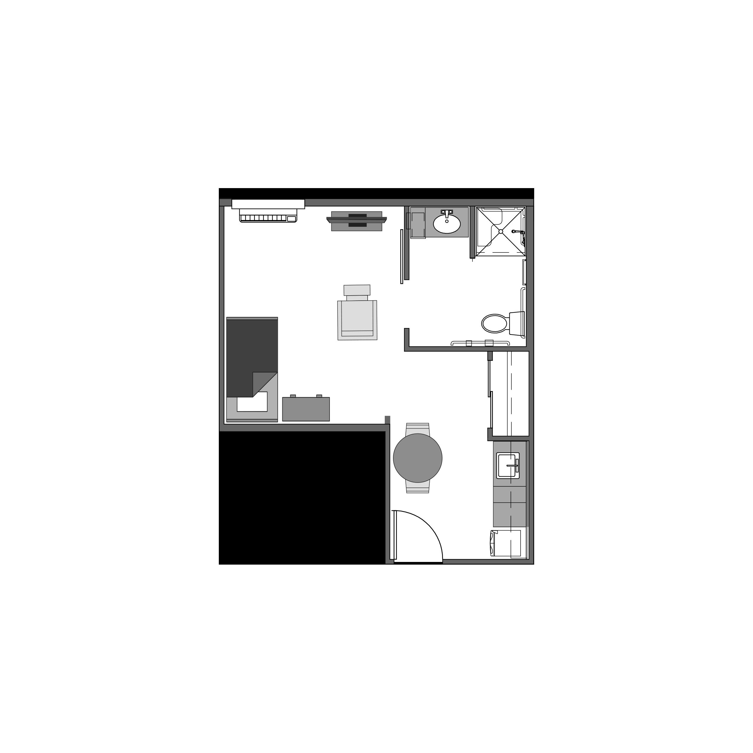 Studio floor plan, 348 square feet