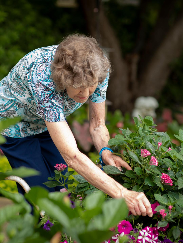 resident picking flowers