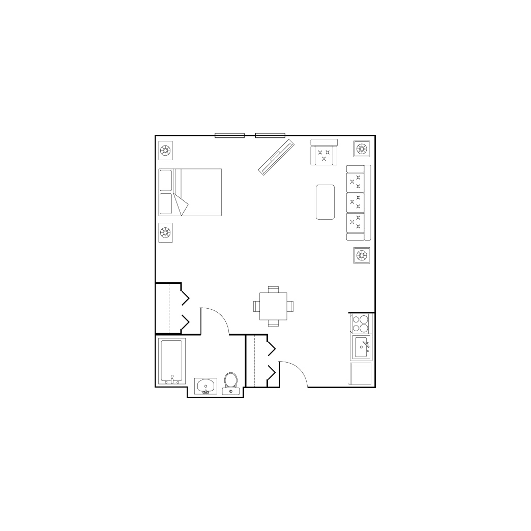 large studio floor plan