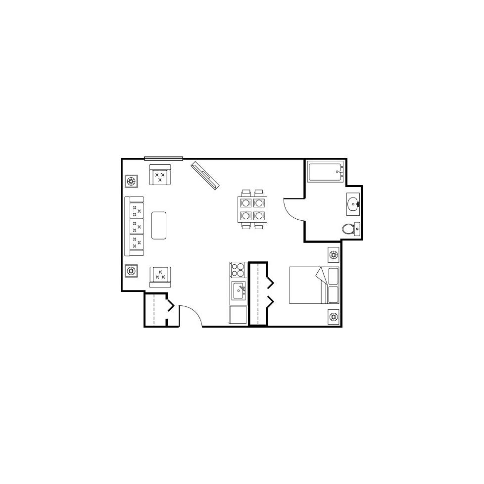 studio-alcove floor plan