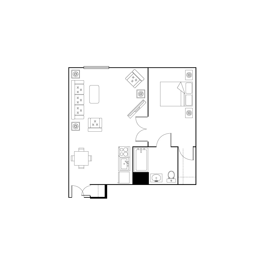 small one bed one bath floor plan